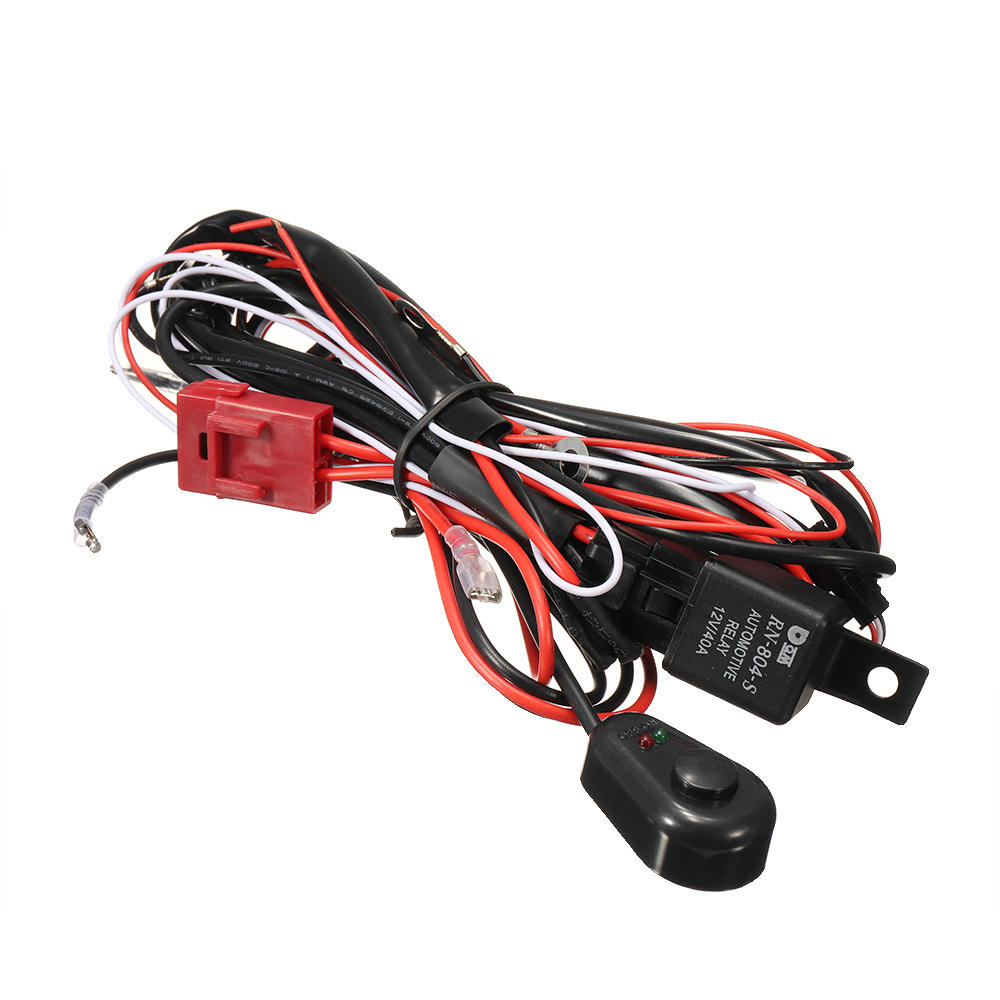 medium resolution of wiring harness kit 12v 40a 300w fuse relay on off switch for led work fog light bar cod