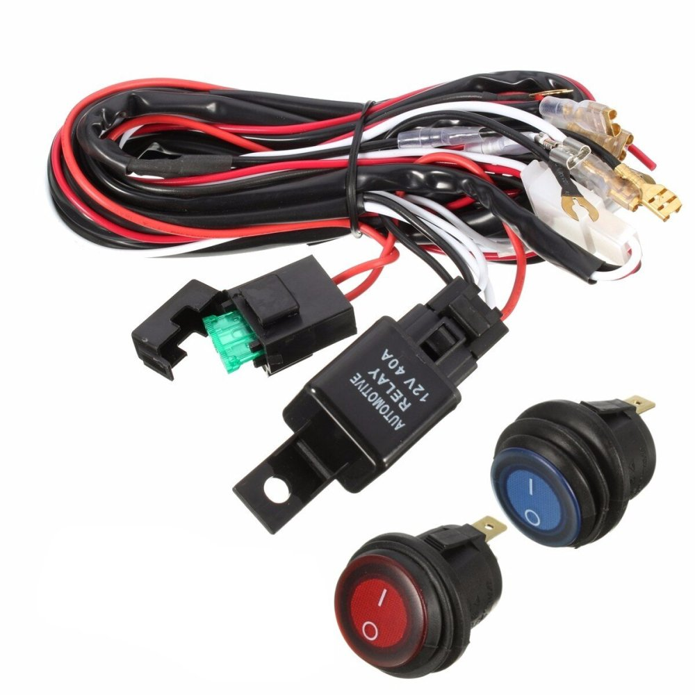 medium resolution of 40a 12v led light bar wiring harness relay on off switch for jeep 40a 12v led