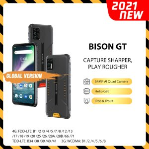 UMIDIGI BISON GT Global Bands 6.67 inch FHD+ IP68&IP69K Waterproof NFC 8GB 128GB Helio G95 Android 10 5150mAh 64MP AI Matrix Quad Rear Camera 4G Smartphone