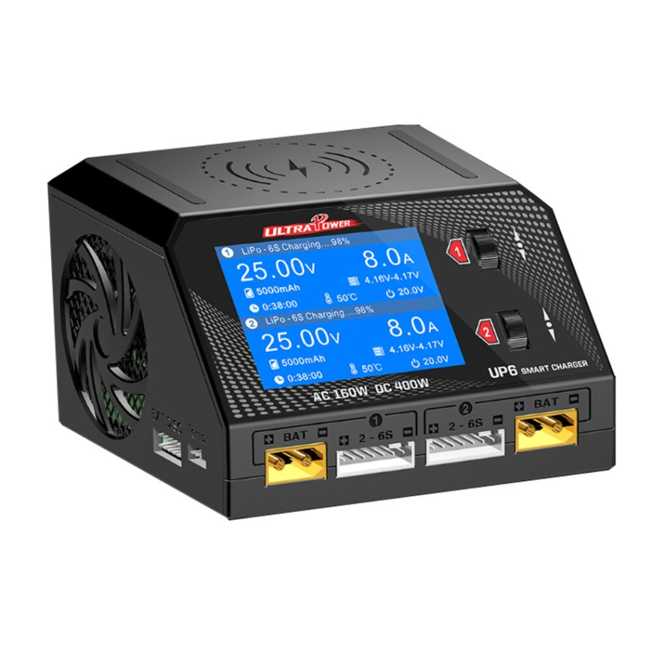 Ultra Power UP6 AC 160W DC 400W 10A Battery Charger With Wireless Charging for Lipo/Nicd/NiMH Battery