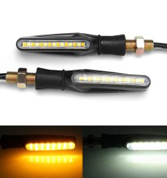 pair 12v motorcycle dual color led turn signal indicator drl flowing sequential lights cod [ 1200 x 1200 Pixel ]