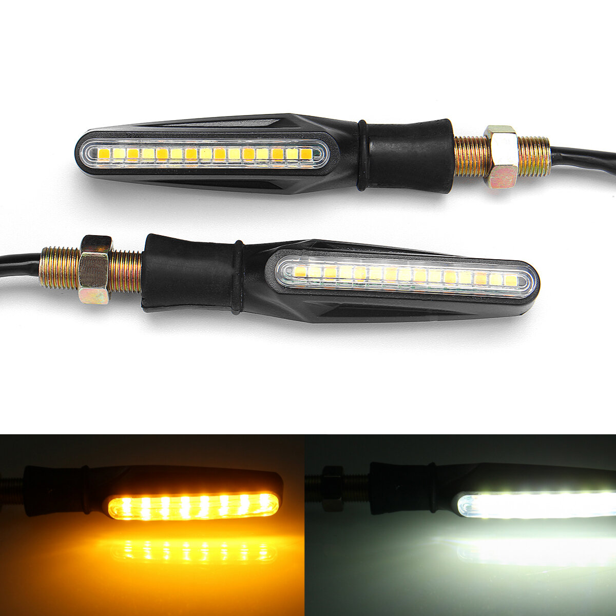 hight resolution of pair 12v motorcycle dual color led turn signal indicator drl flowing sequential lights cod