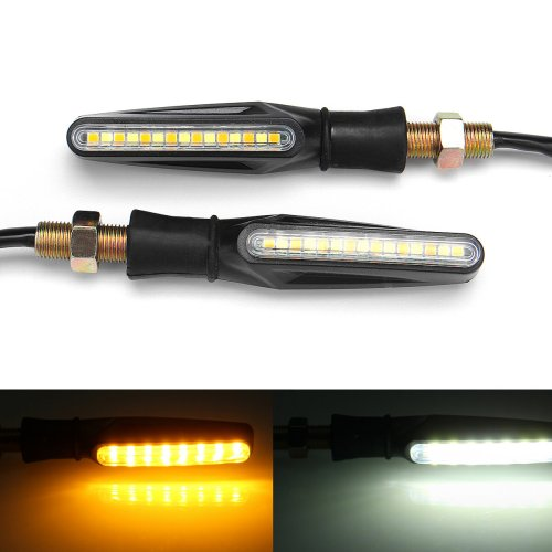 small resolution of pair 12v motorcycle dual color led turn signal indicator drl flowing sequential lights cod