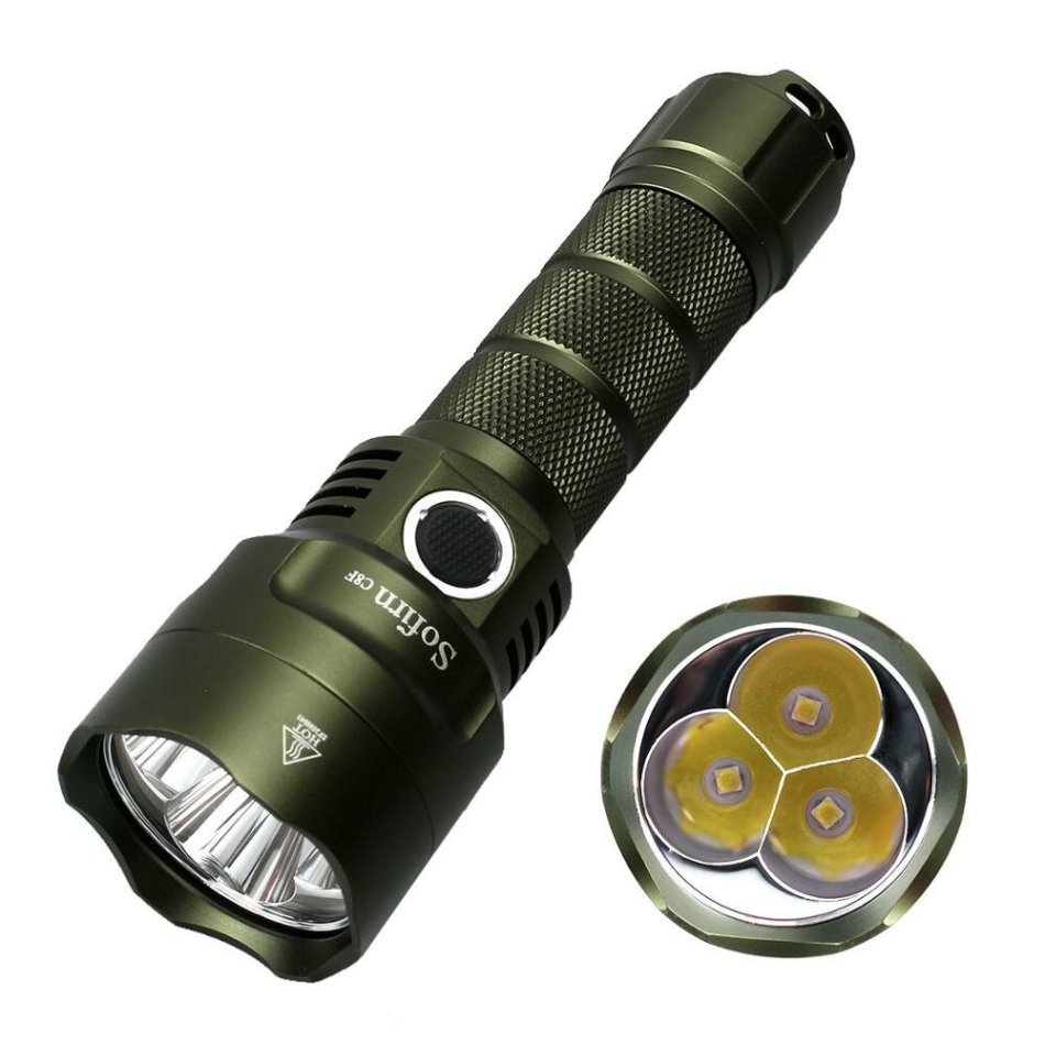 Sofirn C8F 3x XP-L 3500lm High Lumen LED Flashlight Triple Reflector Super Bright Tactical Torch with 4 Groups for Cycling Fishing Camping