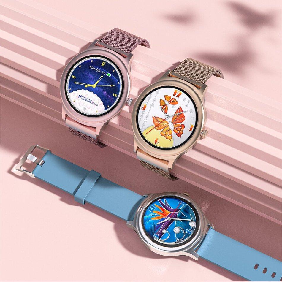 BlitzWolf® BW-AH1 Full-touch Screen HR Blood Pressure Monitor 24 Sport Modes Custom Wallpaper Weather Push Female Elegant Smart Watch