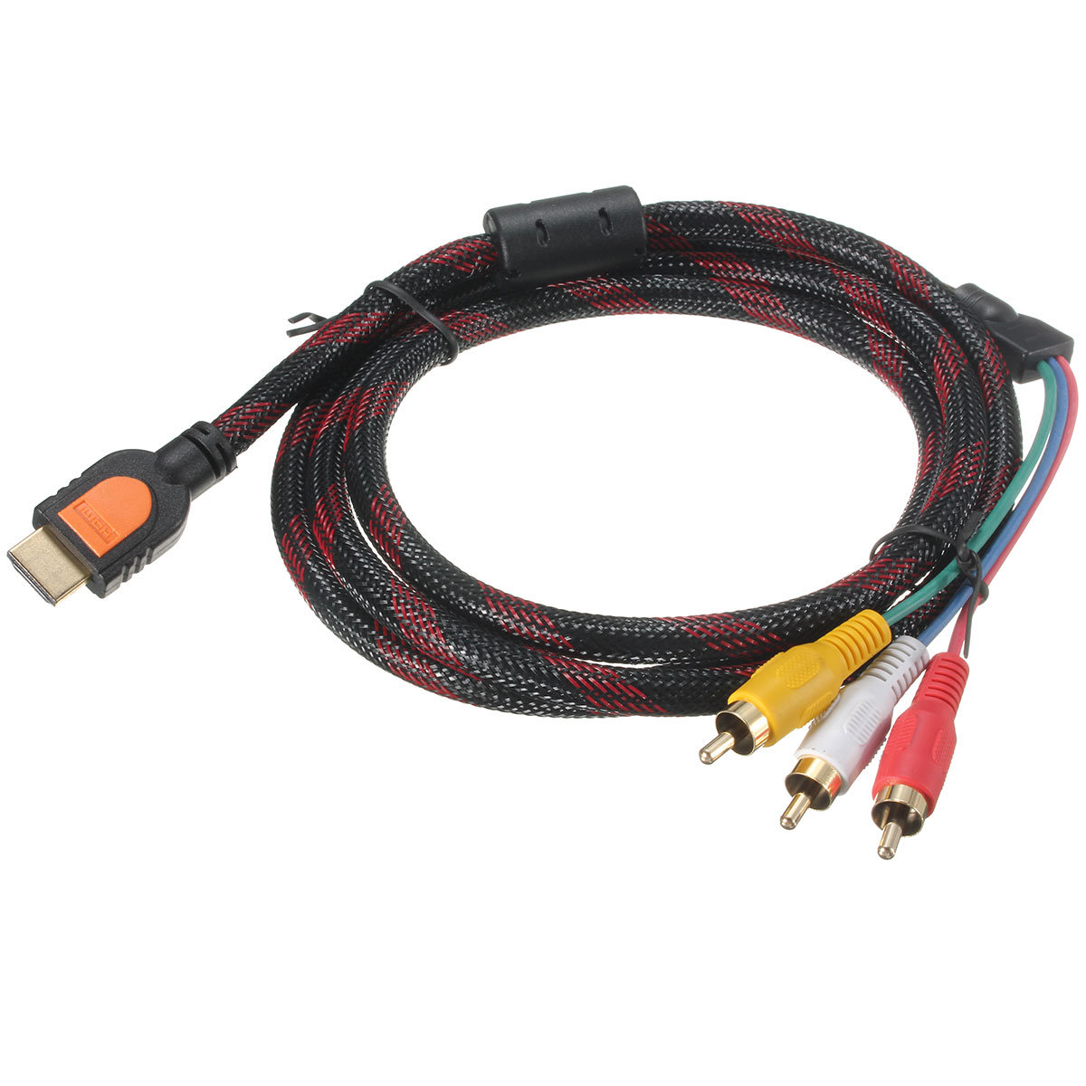 hight resolution of 5ft 1 5m hdmi to 3 rca av audio video cable cord adapter for tv hdtv dvd 1080p cod