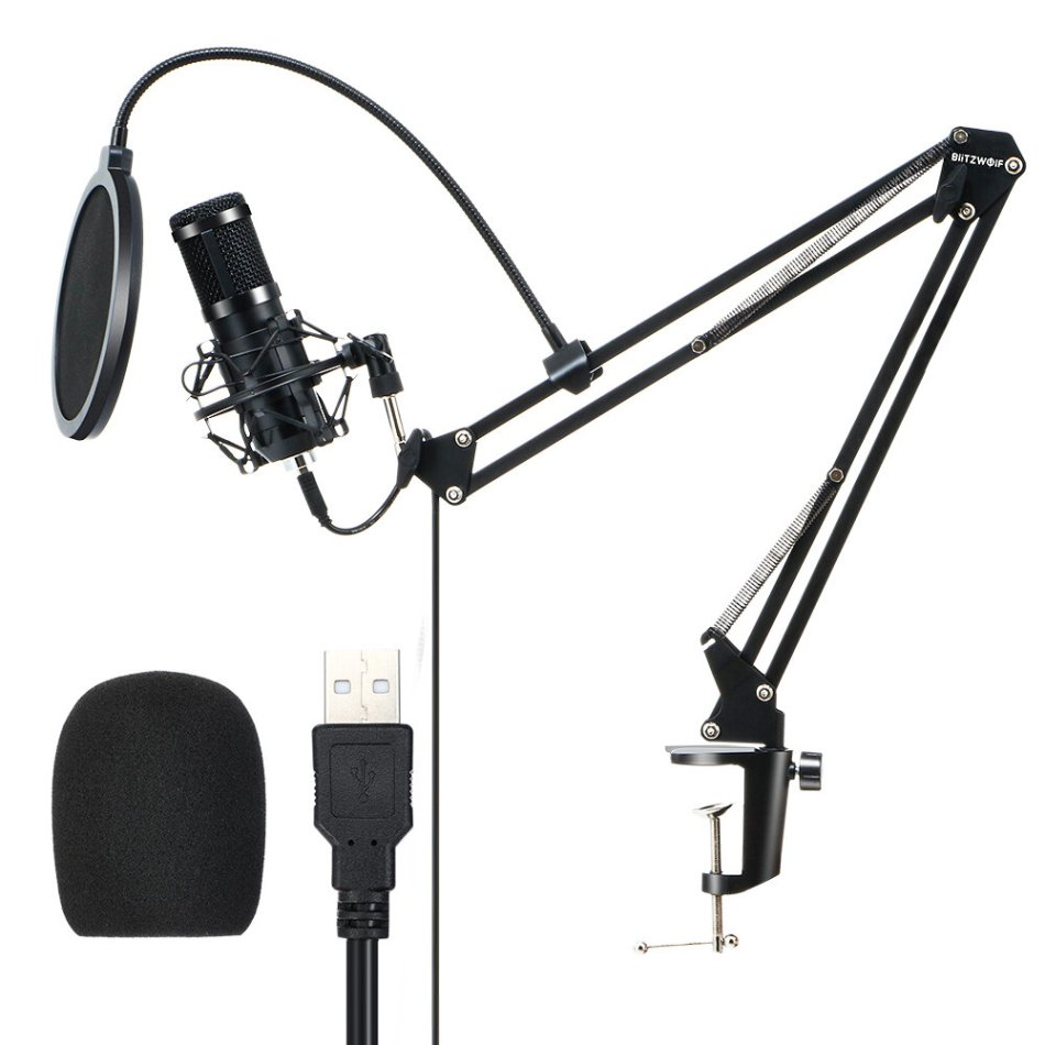 BlitzWolf® BW-CM2 Condenser Microphone USB Microphone Audio Dynamic System Kit Cantilever Bracket Anti-spray Net Set Sound Recording Vocal Microphone
