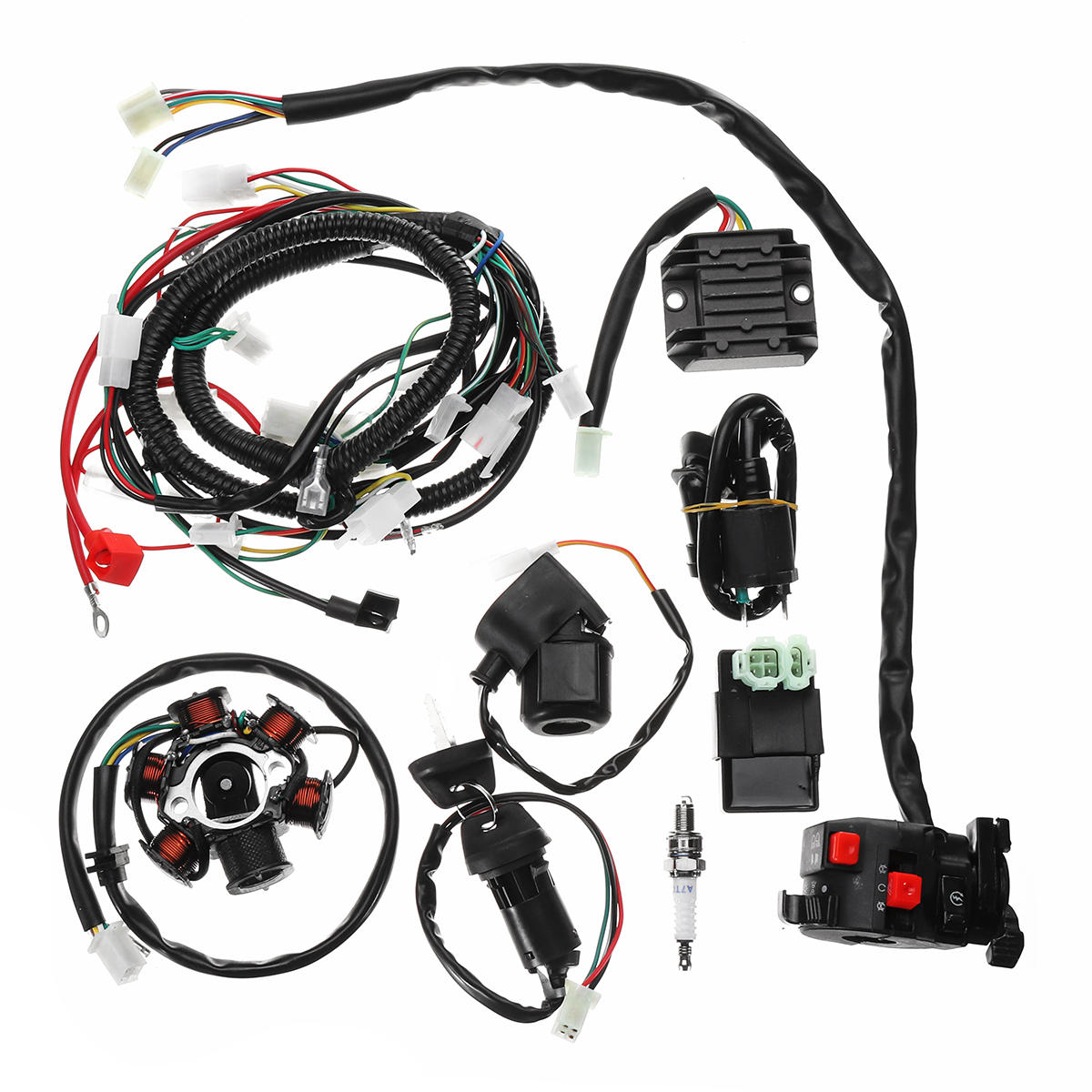 hight resolution of full electrics wiring harness loom cdi coil for gy6 150cc atv quad gy6 wiring harness diagram