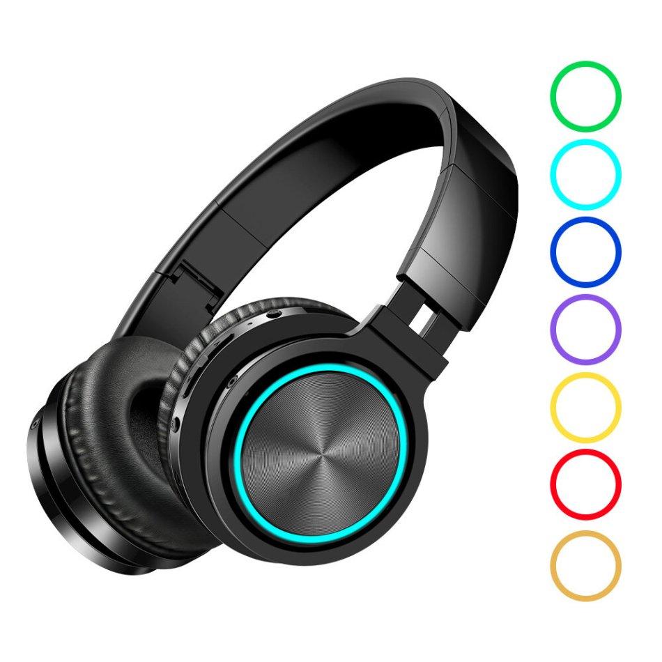 BlitzWolf® AIRAUX AA-ER1 bluetooth 5.0 Graphene Headphone Foldable RGB Earphones Over Ear Stereo Wireless Headset Built-in Mic For Phones Computer