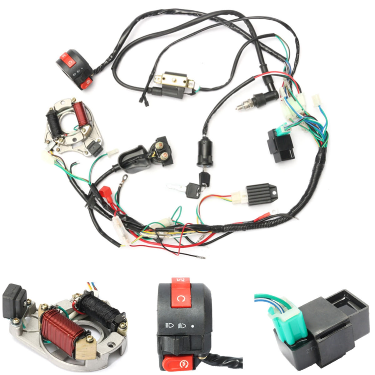 hight resolution of 50cc 70cc 90cc 110cc cdi wire harness assembly wiring kit atv electric start quad buyang 110cc atv wiring harness 110 atv wiring harness