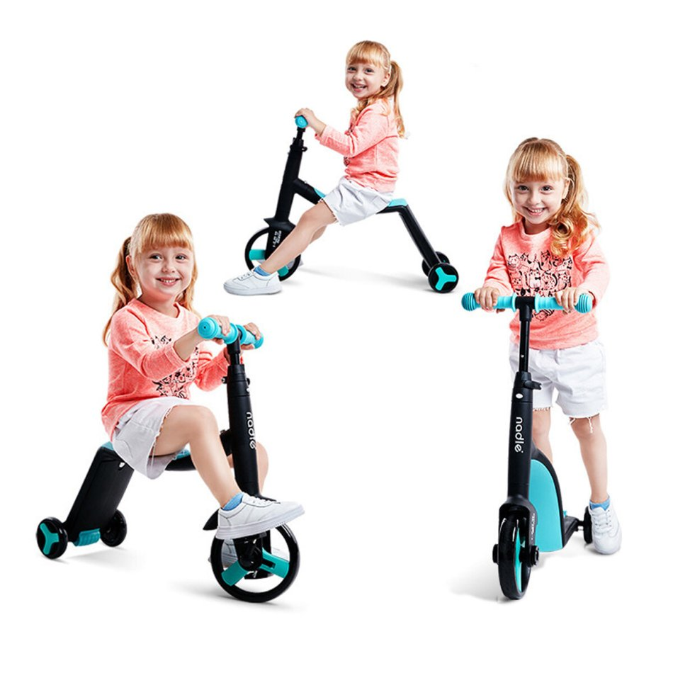 NADLE 3 In 1 Adjustable Height Kids Balance Bike for Ages 1-5 Children Scooter Toddler Tricycle Baby Sport Balance Training Walker Ride On Toys