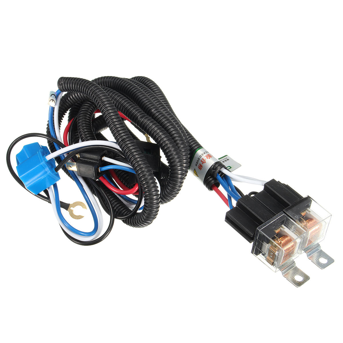 hight resolution of 12v 7inch h4 headlight 2 headlamp relay wiring harness light socket plug connector cod