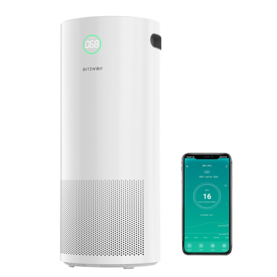 BlitzWolf® BW-AP2 360°Anion Smart Air Purifier 500m³/h CADR,H12 HEPA Filter,34db Quiet Air Cleaner,3 Mode,4 Gear Wind Speed,Timing Function with APP Control
