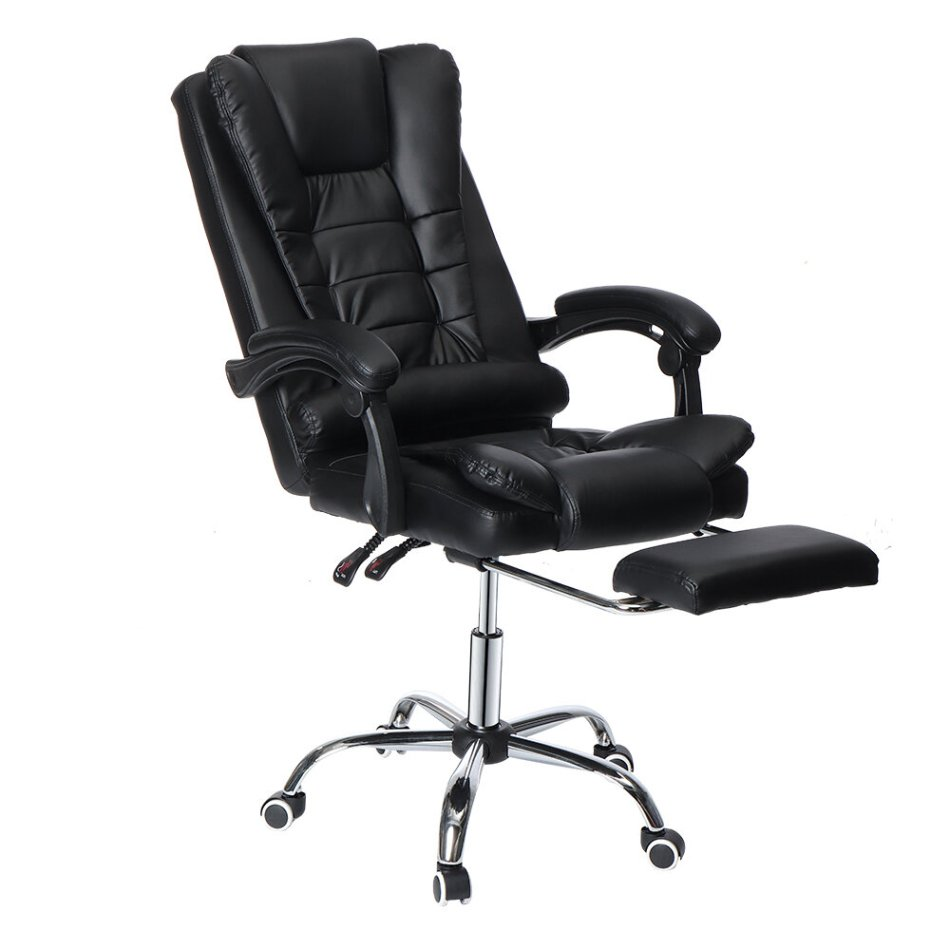 Douxlife® Classic MC-CL01 Executive Office Chair Ergonomic Design with 135°Reclining Retractable Footrest PU Leather Lumbar Pillow for Home Office