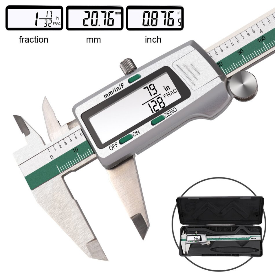 DANIU Digital Stainless Steel Caliper 150mm 6 Inches Inch/Metric/Fractions Conversion 0.01mm Resolution with Box