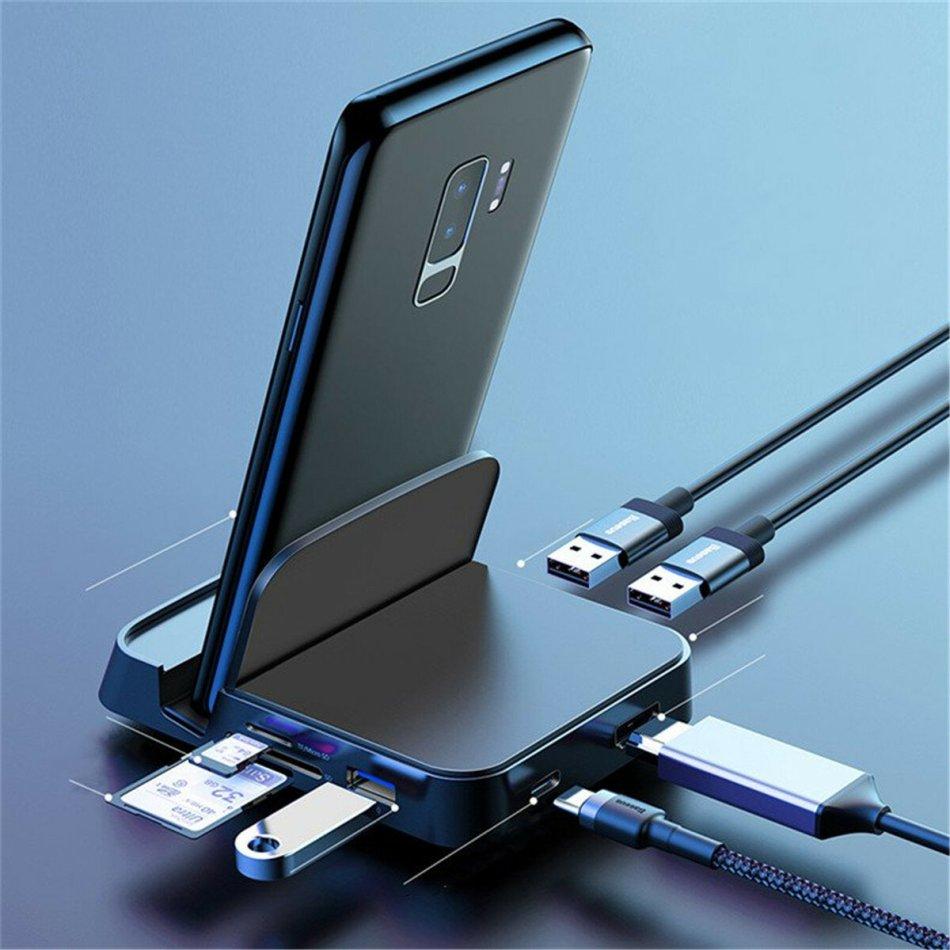 Baseus 7 in 1 Type-C USB-C Hub Docking Station Adapter With 1 * USB 3.0/2 * USB 2.0/Type-C PD Charging Port/4K HD Display Interface/TF Card Reader Slot/Camera Card Reader Slot