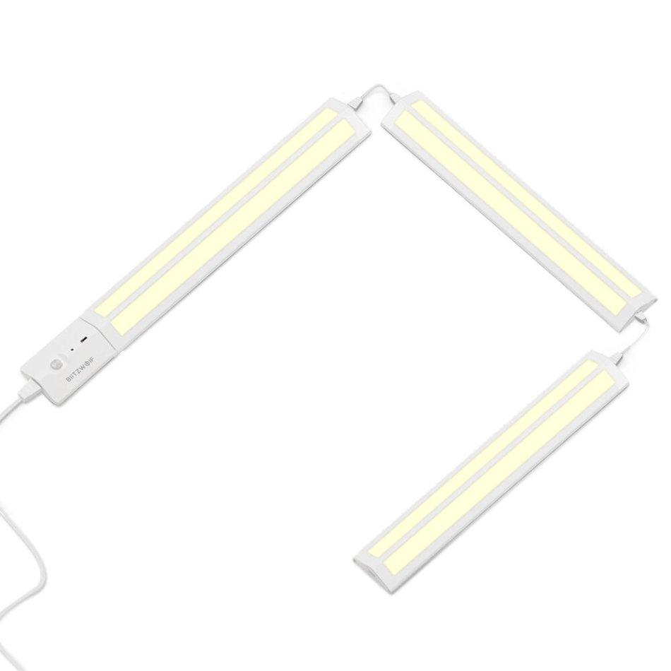 BlitzWolf® BW-LT25 Automatic Sensor LED Detachable and Spliced Cabinet Light 4000K Color Temperature 450 Lumens 200° Lighting Angle Night Light