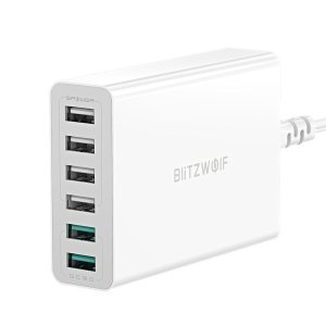 Στα €15.93 από αποθήκη Κίνας | BlitzWolf BW S15 60W 6 Port USB Charger Dual QC3.0 Desktop Charging Station Smart Charger EU AU US Plug Adapter