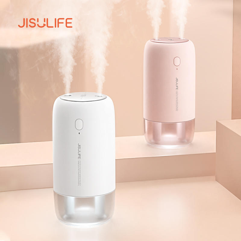 JISULIFE JB08 Dual Nozzle Dual Spray USB Humidifier Portable 500ml with 3600mAh Rechargeable Battery