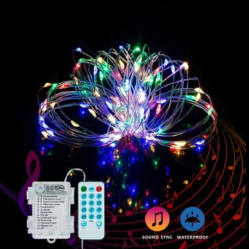 YOZATIA 50/100LEDs 32.8ft Christmas Decorative LED String Lights Sound Activated Music 12 Modes Waterproof Silver Wire Multicolor USB Powered Fairy Lights with Remote Control for Home Party Birthday Wedding Decor