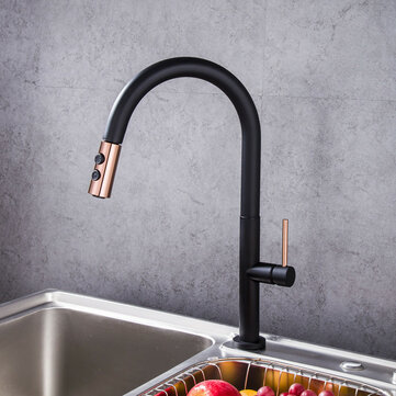 black gold plating brass kitchen sink faucet faucet pull out down hot cold water single handle basin mixer tap