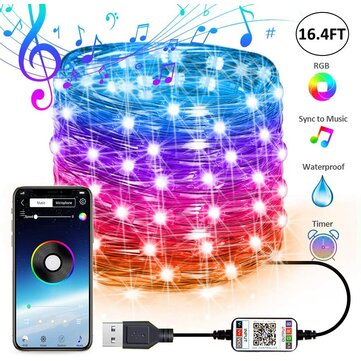 usb fairy lights led string lights music sync bluetooth app phone indoor outdoor twinkle lights 32 8ft hanging curtain string lights color changing