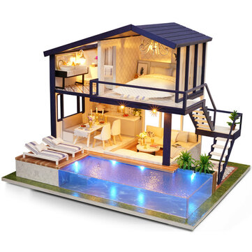 Cuteroom A-066 Time Apartment DIY Doll House With Furniture Light Gift House Toy