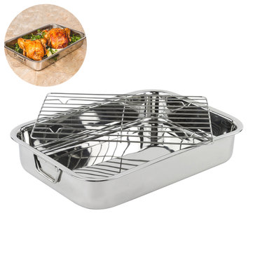 42 32 7cm stainless steel bbq grill pan chicken roaster cooking tray pan with rack