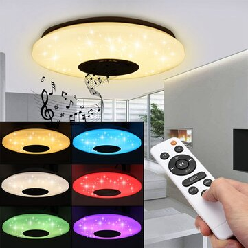 Modern 60W RGB LED Ceiling Light bluetooth Music Speaker Lamp Remote APP Control