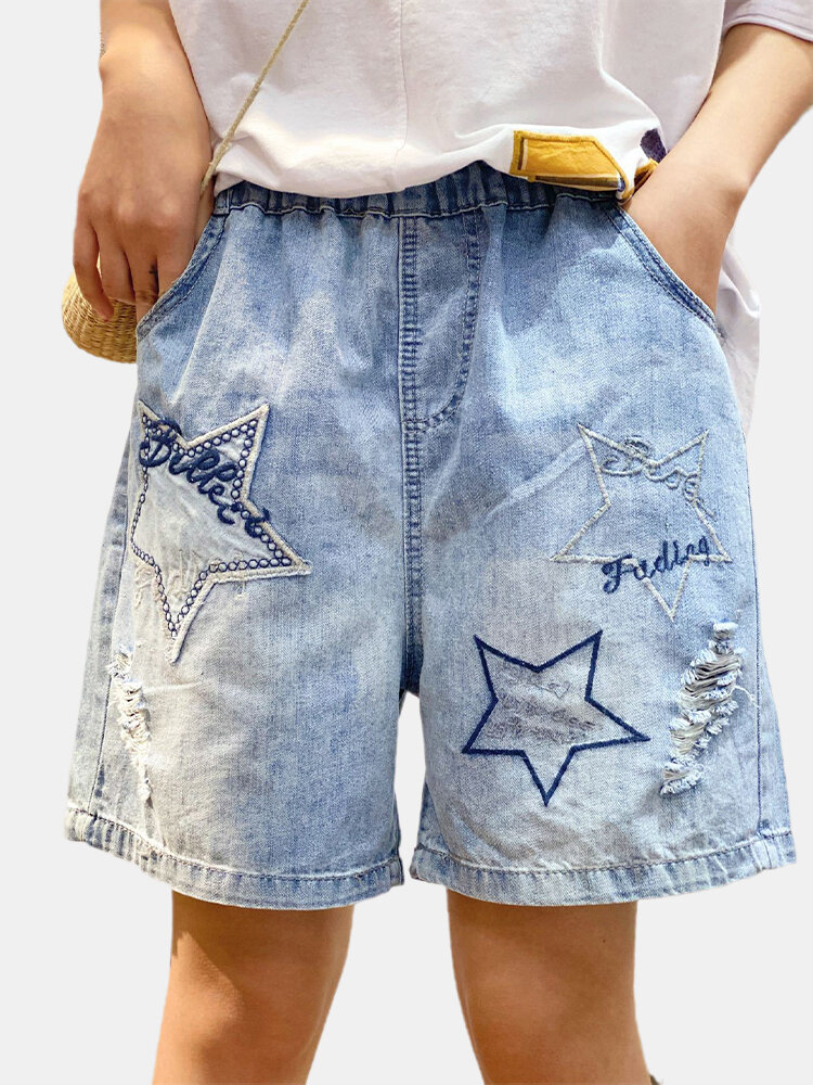 Best Star Embroidery Elastic Waist Denim Shorts For Women You Can Buy