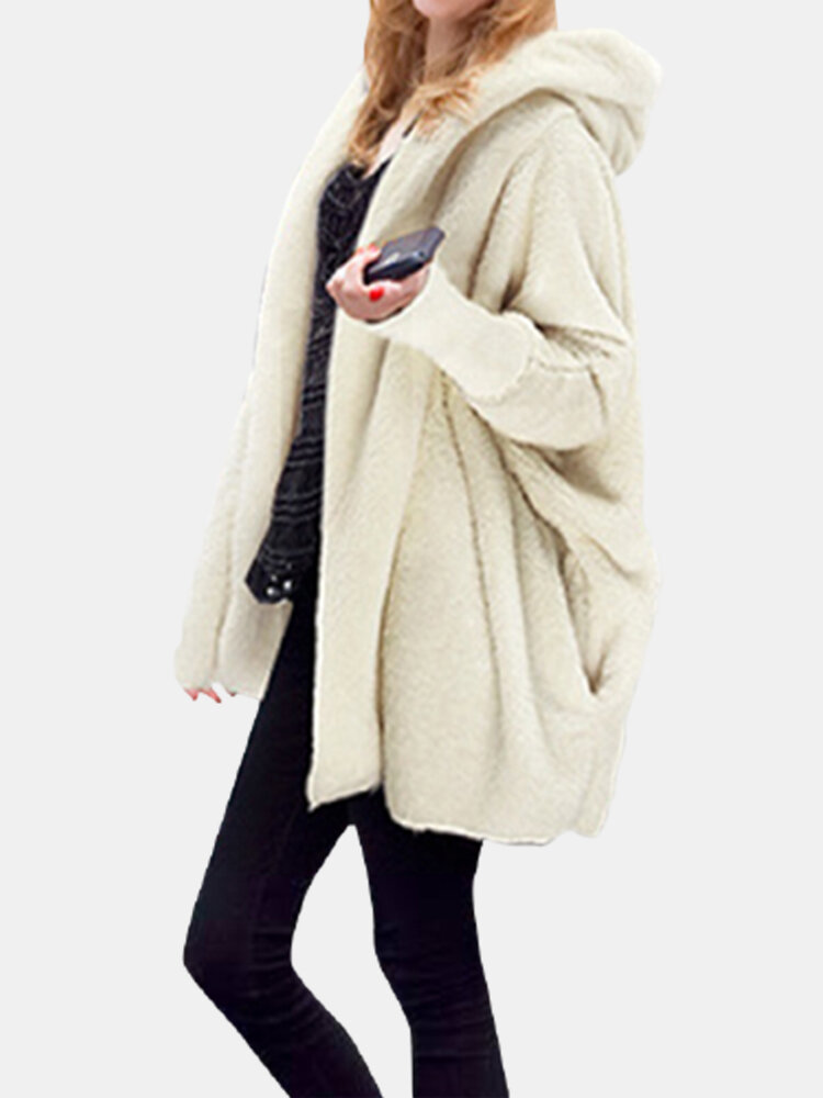 Best Plush Solid Color Bat Sleeve Vintage Hooded Plus Size Coat You Can Buy
