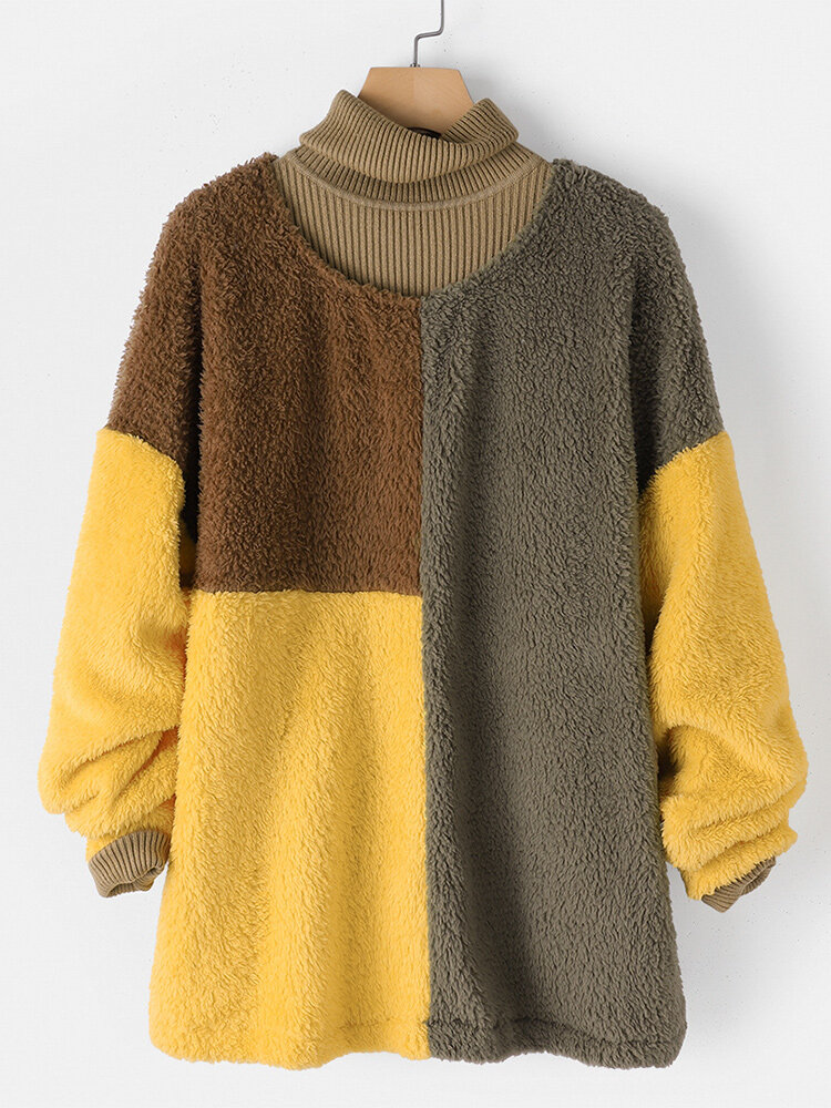 Best Contrast Color Long Sleeve O-neck Patchwork Sweatshirt For Women You Can Buy