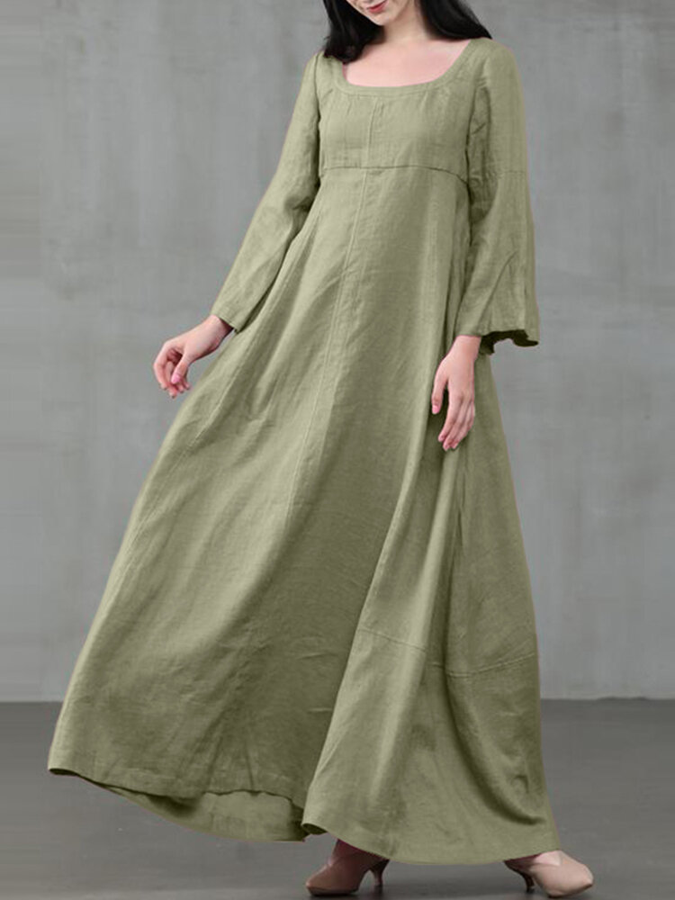 Best Solid Color A-Line Long Sleeve Maxi Cotton Loose Dress You Can Buy