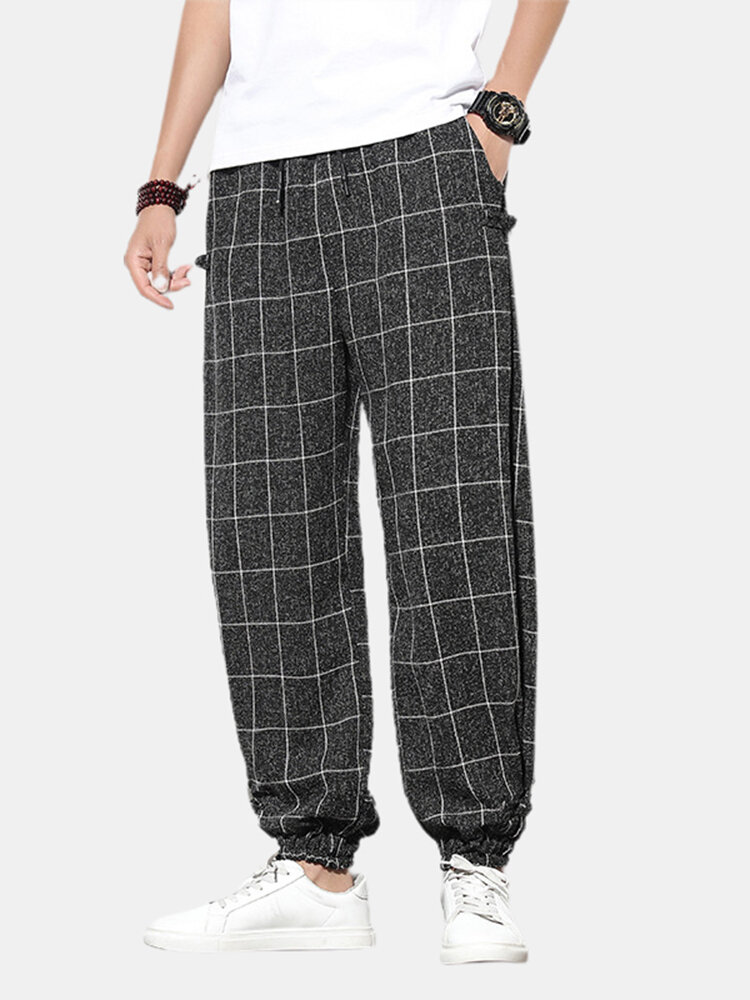 Best Mens Plaid Print Buckle Casual Elastic Waist Drawstring Beam Feet Pants You Can Buy