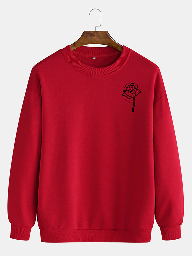 Best Mens Cotton Rose Printing Plain Casual Crew Neck Pullover Sweatshirts You Can Buy