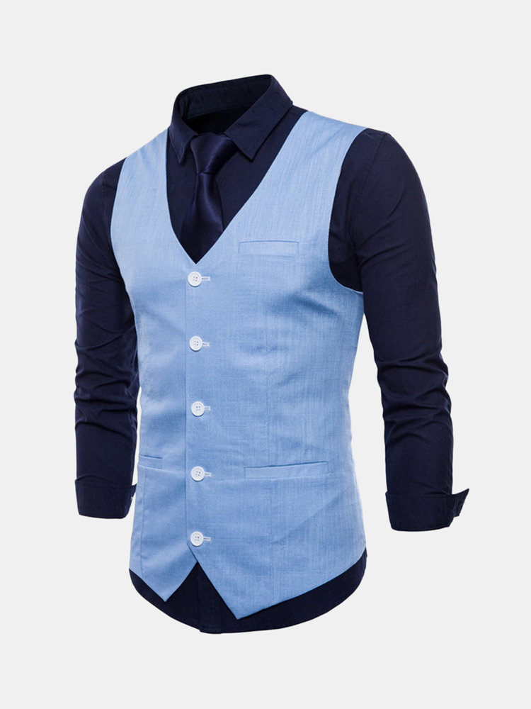 Best Casual Business Formal Pure Color Single Breasted Vest for Men You Can Buy