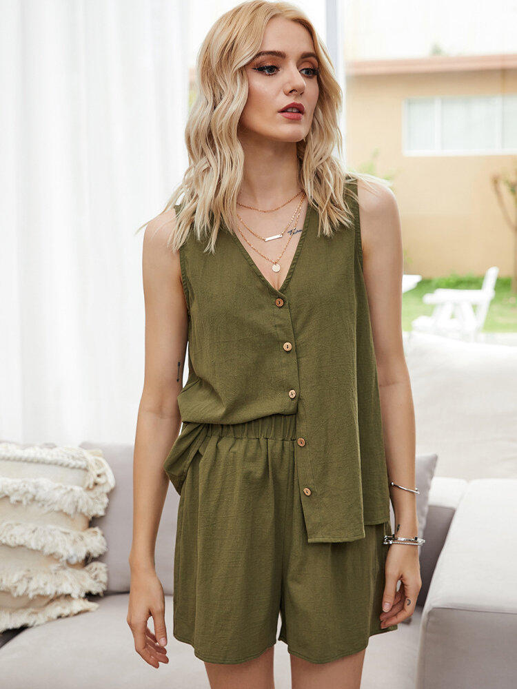 Best Solid Color Button V-neck Sleeveless Tops+Shorts Casual Clothing Set You Can Buy