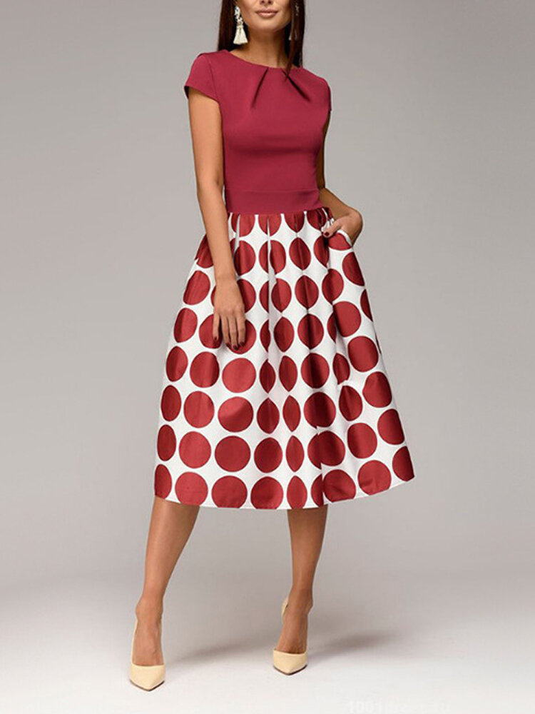 Best Polka Dot Patchwork Party Short Sleeve Dress You Can Buy