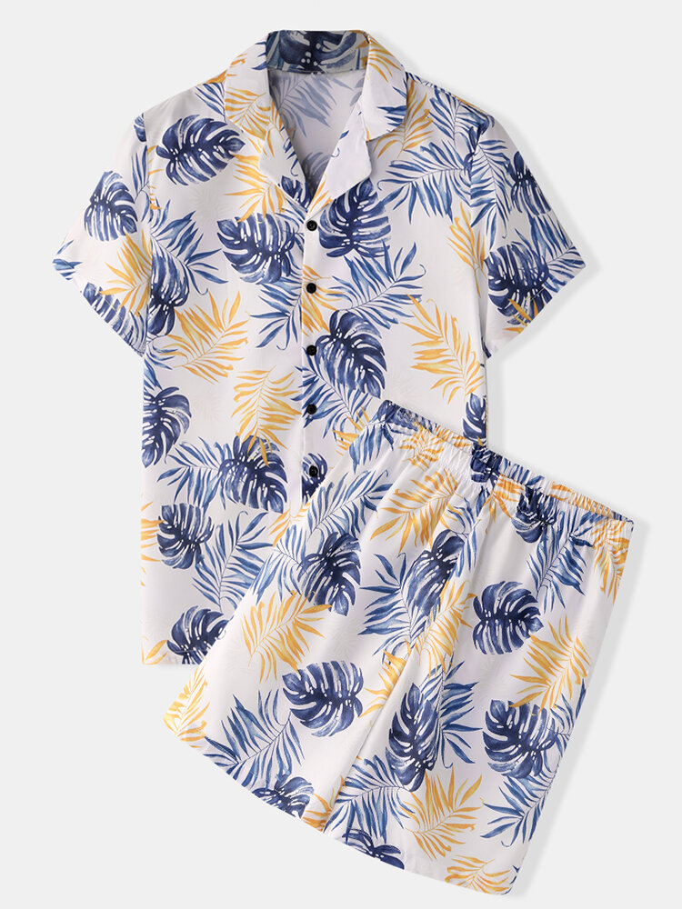 Best Men Floral Tropic Print Pajamas Soft Faux Silk Sleepwear with Short Sleeve Tops You Can Buy