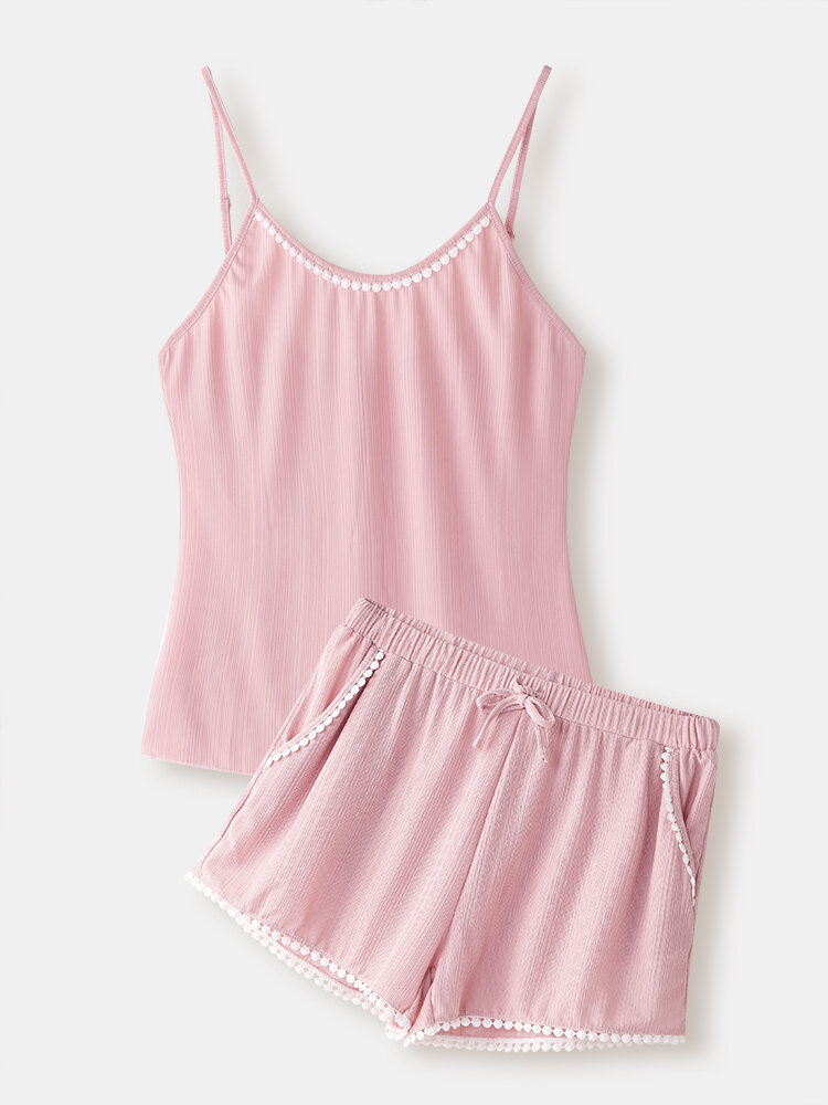 Best Women Pajamas Short Sets Spaghetti Straps Lace Edge Solid Sleeveless Loungewear For Summer You Can Buy