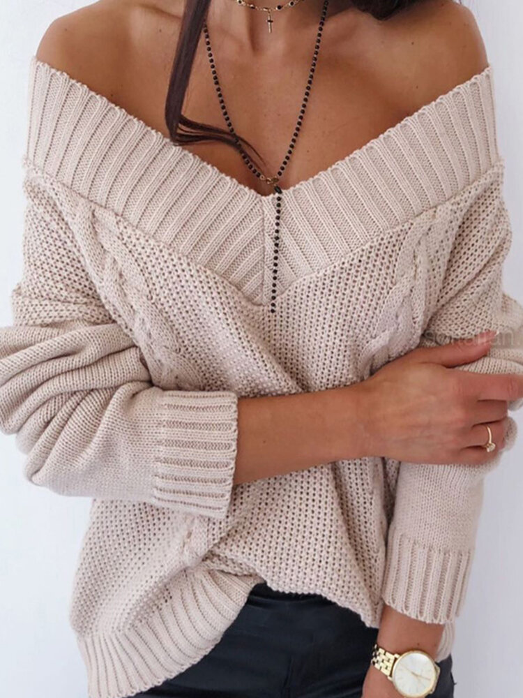 Best V-neck Off-Shoulder Knit Solid Color Sweater For Women You Can Buy