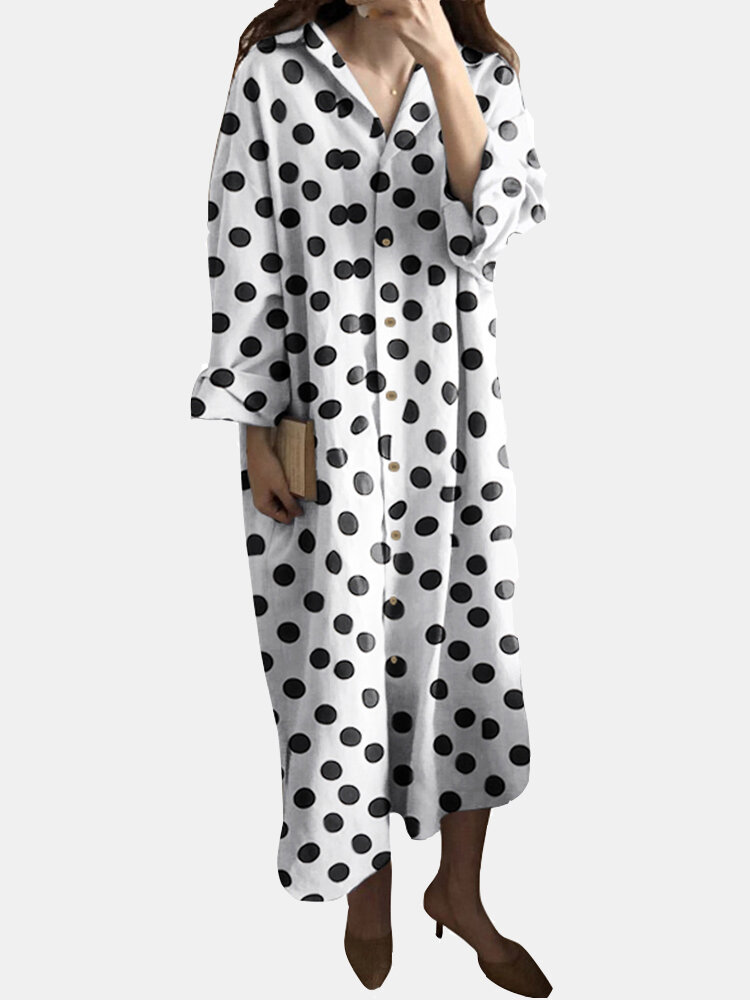 Best Polka Dots Printed Long Sleeves Turn-down Collar Dress With Side Pocket You Can Buy
