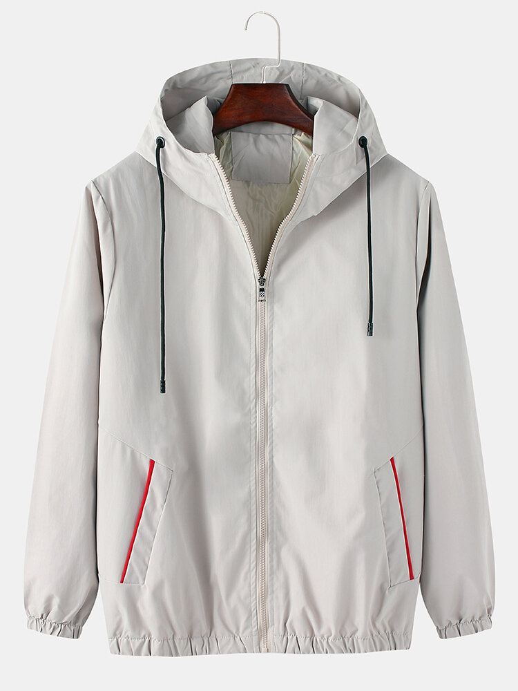 Best Mens Solid Color Cotton Casual Loose Fit Pocket Drawstring Hooded Jacket You Can Buy