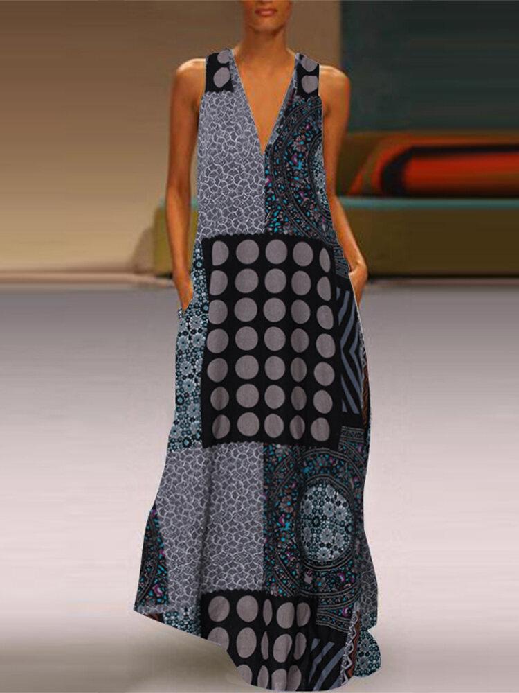 Best Vintage Polka Dot Print Sleeveless Plus Size Maxi Dress You Can Buy