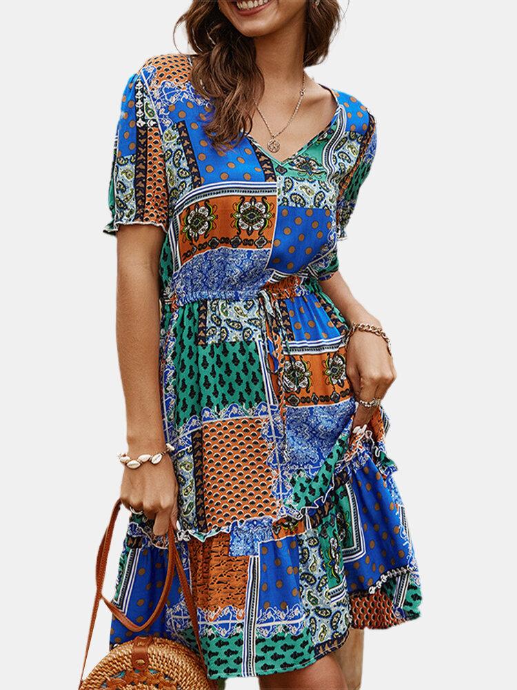 Best Ethnic Print Drawstring Waist Short Sleeve Bohemian Dress You Can Buy