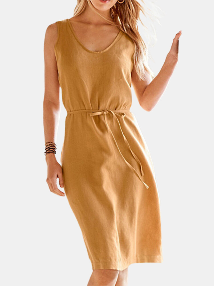 Best Solid Color O-neck Sleeveless Drawstring Midi Dress You Can Buy
