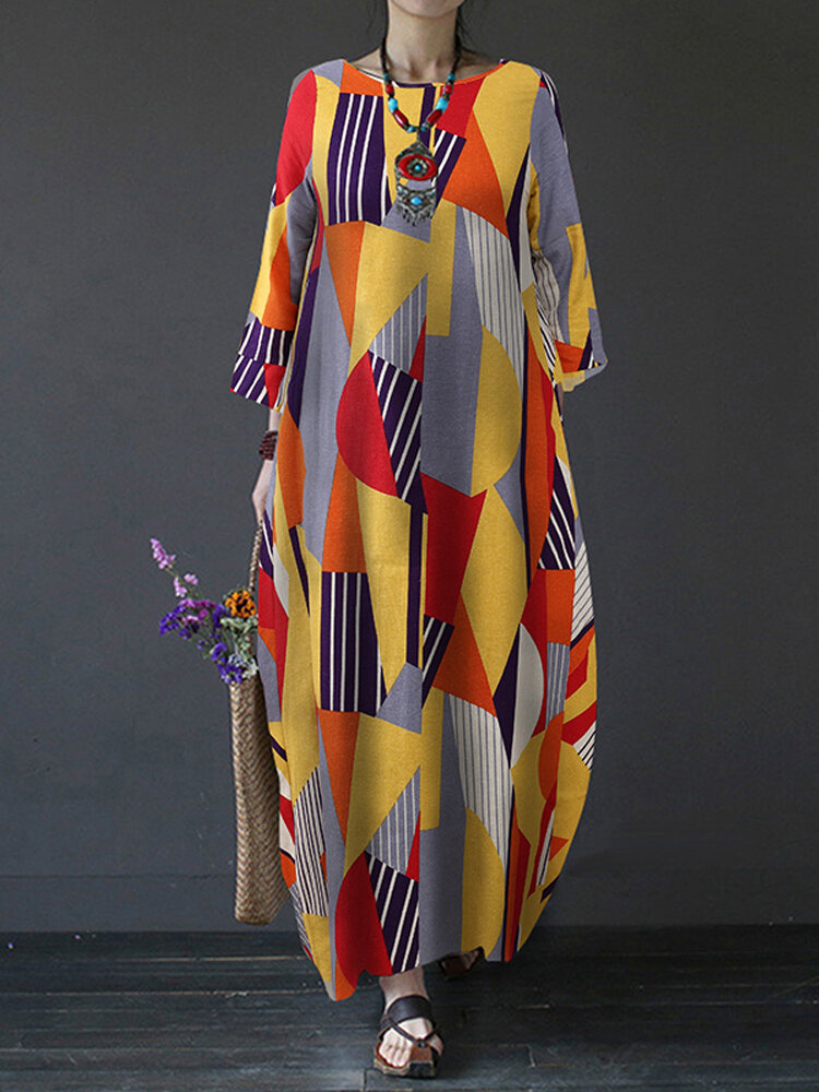 Best Contrast Color Geometric Print Long Sleeve Vintage Dress For Women You Can Buy