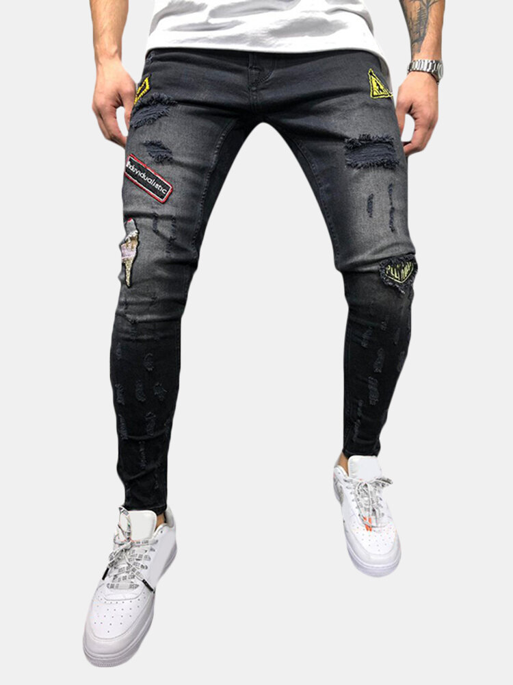 Best Men's Comfortable Cotton Mid Waist Patchwork Embroidered Jeans Denim Pants for Men You Can Buy