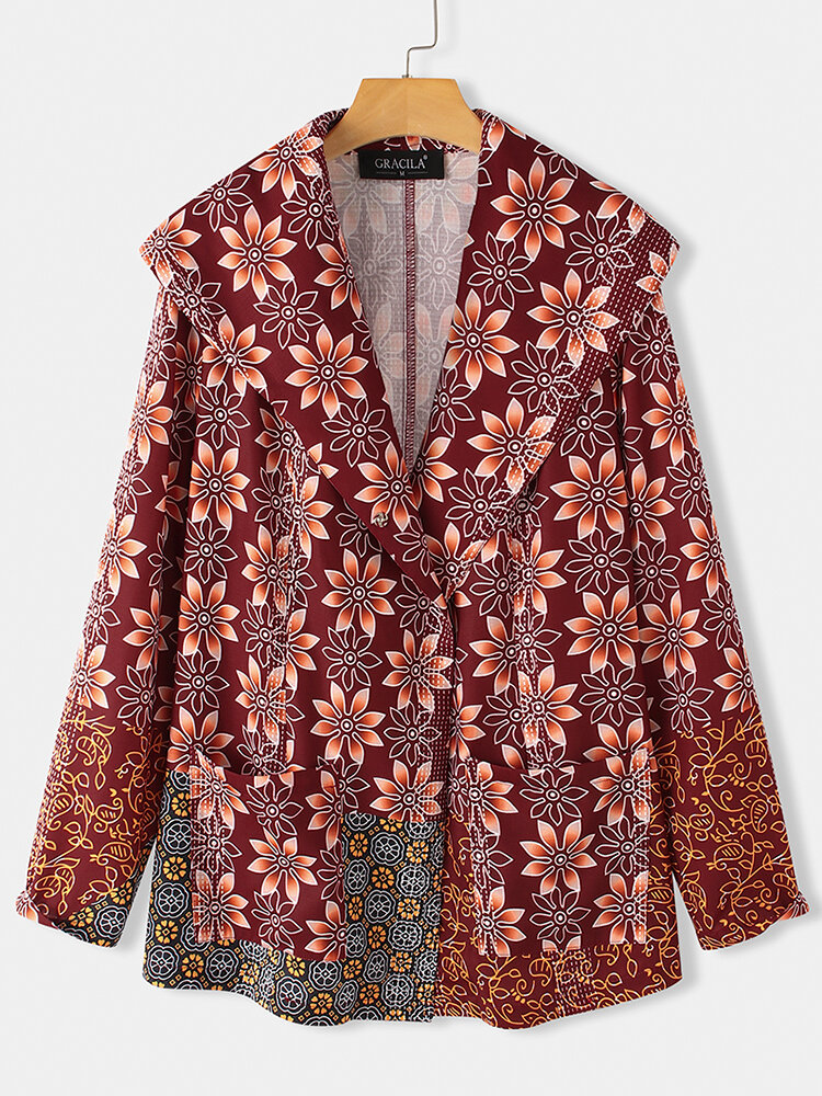 Best Ethnic Floral Print Long Sleeve Vintage Jacket For Women You Can Buy