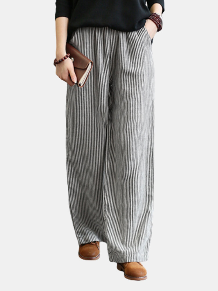 Best Striped Print Loose Elastic Waist Plus Size Pants You Can Buy
